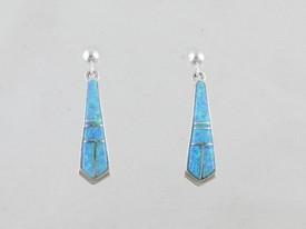 Sterling Silver Blue Opal Inlay Earrings (ER0461)