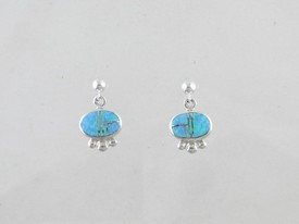 Sterling Silver Blue Opal Inlay Earrings (ER0462)