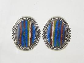 Sterling Silver Rainbow Rock Earrings