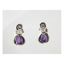 Sterling Silver Amethyst Post Earrings (ER1165)