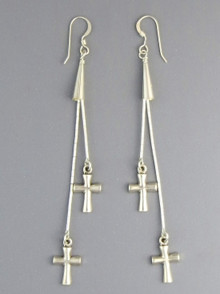 Serenade of Souls Silver Cross Earrings