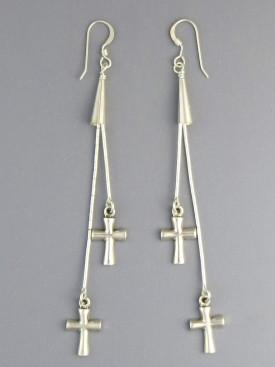 Serenade of Souls Silver Cross Earrings