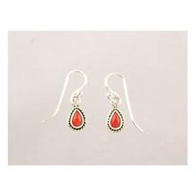 Sterling Silver Coral Dangle Earrings