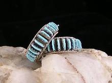 Turquoise Needle Point Hoop Earrings - Zuni (ER229)