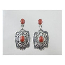 Sterling Silver Mediterranean Coral Earrings (ER2711)