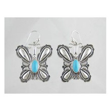 Sterling Silver Sleeping Beauty Turquoise Butterfly Earrings (ER3139)