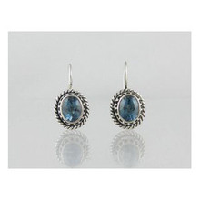 Sterling Silver Gallery Wire Blue Topaz Earrings - Omega Clips