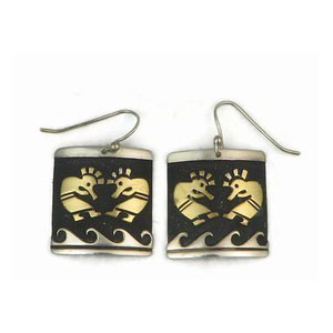 12k Gold & Sterling Sterling Kokopelli Earrings by Tommy Singer, Navajo