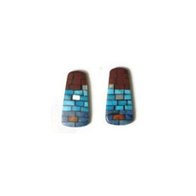Turquoise, Pipestone, Lapis & Shell Mosaic Inlay Earrings by Charlene & Frank Reano, San Felipe / Santo Domingo