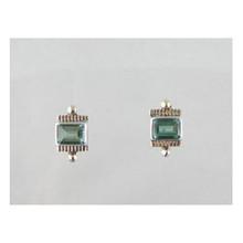 14k Gold & Sterling Silver Green Quartz Earrings