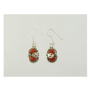 Effie Calavaza Silver Coral Dangle Earrings