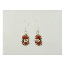 Effie Calavaza Silver Coral Earrings