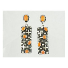 Spiny Oyster Shell Silver Cross Earrings