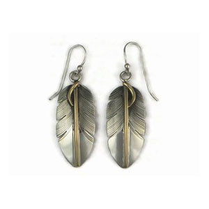 12k Gold & Sterling Silver Feather Earrings by Lena Platero, Navajo (ER5000)