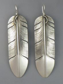 "Large Sterling Silver Feather Earrings 3 1/2"" by Lena Platero, Navajo"