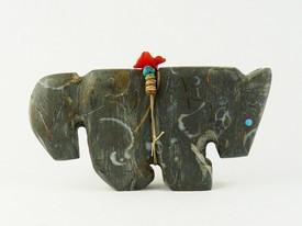 Native American Crawstone Horse Fetish by Burt Awelagte, Zuni Indian