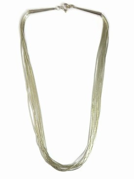 "10 Strand Liquid Silver Necklace Adjustable 24"" - 26"""