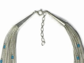 "20 Strand Liquid Silver Turquoise Heishi Necklace - Adjustable Length 18"" to 20"""
