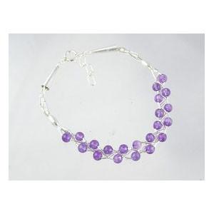 Liquid Silver Amethyst Bead Bracelet