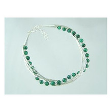 Liquid Silver Malachite Beaded Bracelet