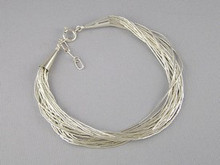 20 Strand Liquid Silver Bracelet - Adjustable Length