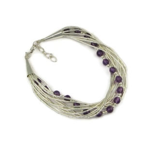 Liquid Silver Amethyst Beaded Bracelet