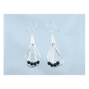 Liquid Silver Onyx Bead Earrings (LSER001OX)