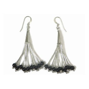 Liquid Silver Onyx Bead Earrings (LSER036OX)
