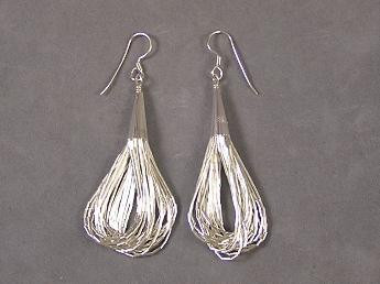 20 Strand Liquid Silver Earrings