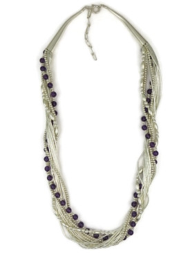 "Liquid Silver Amethyst Beaded Necklace 18"" - 20"""
