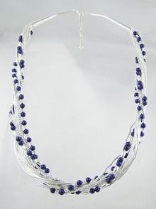 "Liquid Silver Lapis Beaded Necklace 18"" - 20"""
