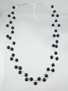 "Liquid Silver Onyx Beaded Necklace 17"" - 19"""