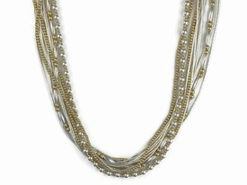 """Liquid Silver & Gold Bead Necklace - Adjustable Length 18"""" to 20"""""""