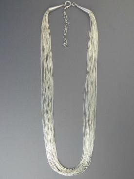 "20 Strand Liquid Silver Necklace Adjustable Length 20"" - 22"""
