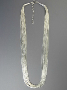 20 Strand Liquid Silver Necklace Adjustable Length 20""
