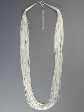 "30 Strand Liquid Silver Necklace 18"" Adjustable Length"