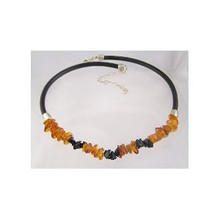 Amber & Onyx Leather Necklace