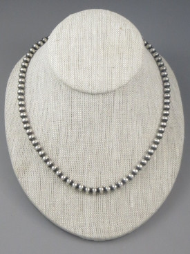 Antiqued Sterling Silver 6mm Bead Necklace 16""