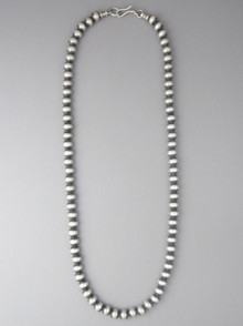 Antiqued Sterling Silver 6mm Bead Necklace 24""