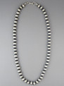 """Antiqued Sterling Silver 8mm Bead Necklace 24"""""""
