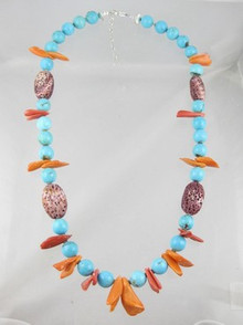 Turquoise Bead & Spiny Oyster Shell Necklace - Adjustable Length Necklace