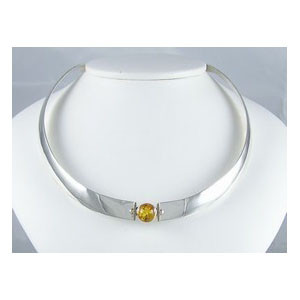 14k Gold & Sterling Silver Amber Collar Necklace