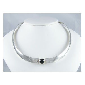 14k Gold & Sterling Silver Onyx Collar Necklace