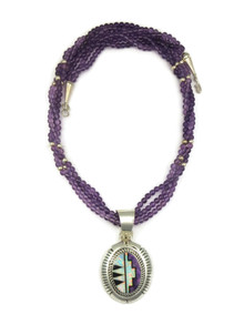 Sugilite, Opal & Amethyst Bead Pendant Necklace (NK1423)