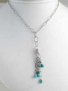 Sterling Silver Turquoise Dangle Necklace
