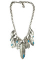 Sterling Silver Candalaria Turquoise Feather Necklace by Lena Platero & Jerry Platero, Navajo