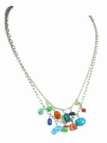 Sterling Silver Gemstone Bead Necklace - Adjustable Length