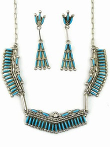 Turquoise Needle Point Necklace & Earring Set by Levon Loncasion, Zuni