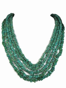 Five Strand Graduated Turquoise Nugget Necklace - Adjustable Length