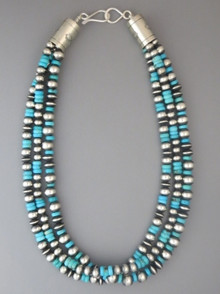 "Three Strand Silver Bead Necklace 18"" with Turquoise by Geneva Apachito"